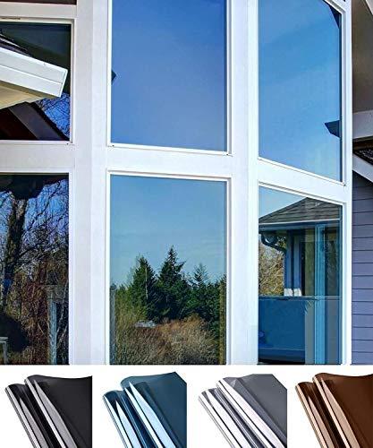 Zonwerende raamfolie, spiegel, reflecterende teint in één richting, anti-uv-venster, warmtecontrole, vinyl, voor thuis en op kantoor 40x200cm