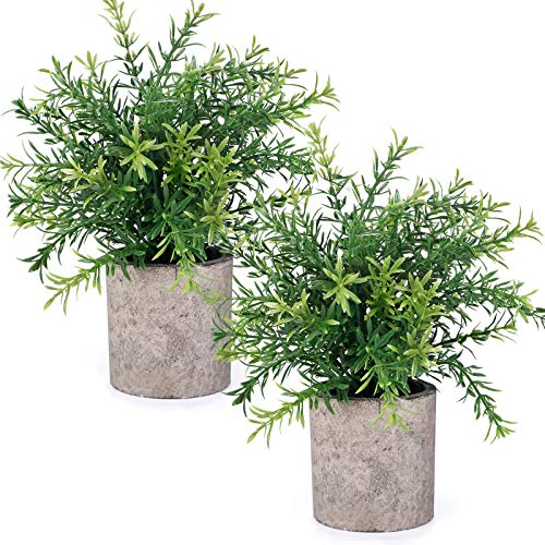 CEWOR 2pcs Artificial Mini Potted Plants Faux Rosemary Fake Plastic Bamboo Leaves for Bathroom Shelf Home Office Desk Room Decoration