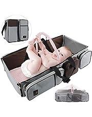 HALOVIE Bolsa de Pañales para Bebés Cuna Cama Plegable con Mosquitero Bolsa Aislante Cambiador 3 en 1 Gran Capacidad Mochila Bolsa de Viaje Portátil Multifuncional Parque de Juegos