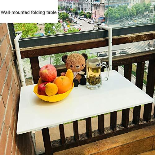 Mesa Plegable de Pared Exteriores, Mesa de Trabajo Flotante, Mesa de Comedor de abatible, Mesa de Centro, para jardín/terraza/balcón, Blanco, Hierro Forjado, tamaño de la Mesa: 60 × 40 cm