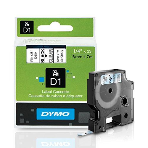 DYMO Standard D1 43610 Labeling Tape (Black Print on Clear Tape, 1/4'' W x 23' L, 1 Cartridge), DYMO Authentic