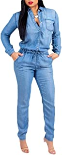 Women's Sexy Bodycon Jumpsuit Deep V-Neck Long Sleeve Casual Denim Rompers