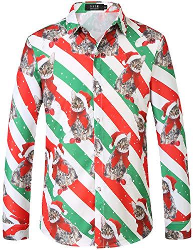 SSLR Men's Santa Claus Party Long Sleeve Hawaiian Ugly Christmas Shirts (Large, White Red)