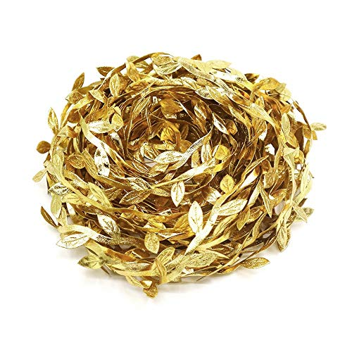 Lowki Double-Sided Printing Gold Olive Leaves Leaf Trim Ribbon DIY Craft and Decoration 33ft Embellishments(Gold)