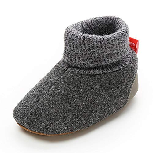 TIMATEGO Newborn Baby Boys Girls Cozy Fleece Booties with Grippers Stay On Slipper Socks Infant Toddler Crib Winter Shoes for Boys Girls, 0-6 Months Infant, 03 Dark Grey Baby Booties