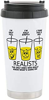 CafePress Glass Half Full Empty Pee Funny T-Shirt Stainless Steel Travel Mug, Insulated 16 oz. Coffee Tumbler