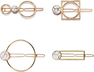 COSYOO Geometric Hair Pin Hollow Marble Alloy Hair Barrette Circle Bobby Pin Hair Clip for Lady