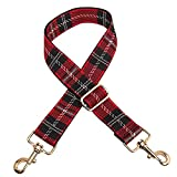 Adjustable Plaid Wide Shoulder Strap Crossbody Replacement for Women Bag Purse Guitar Straps (Red)