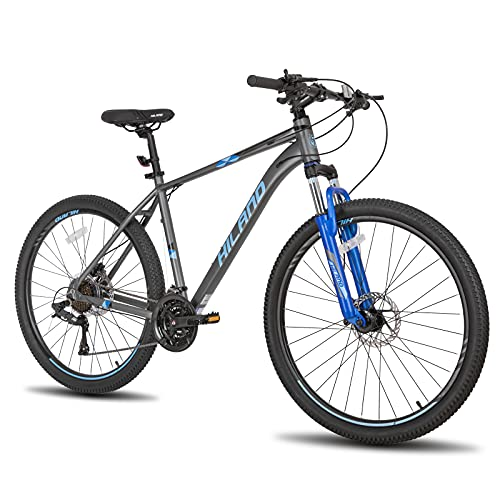 Hiland 27.5 Inch Mountain Bike 27-Speed Hydraulic Disc-Brake,Lock-Out Suspension Fork MTB Bicycle 18 inch Frame Grey&Blue