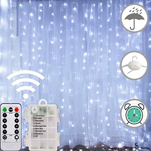 FANSIR Lichterkette Vorhang ,2m*2m LED Wasserdicht Lichterkette Fenster 8 Modus Batteriebetriebene Lichterkette Innen für Schlafzimmer Garten Party Weihnachten deko 200 LEDs (Kaltweiß)