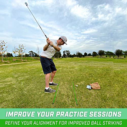 GoSports Golf Alignment Training Sticks 3 Pack - Golf Alignment Aid Practice Rods, Green