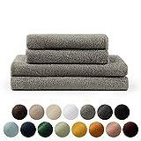 Blumtal Handtücher Set 2 Badetücher 70x140 + 2 Handtücher 50x100 - weich und saugstark, 100% Baumwolle, Oeko-Tex 100 Zertifiziert, Grey
