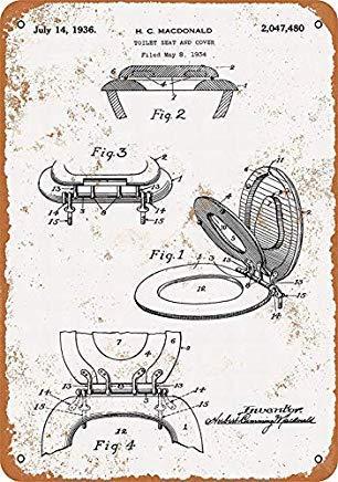 TammieLove Toilettensitz-Abdeckung, Vintage, Retro-Wanddekoration, Metall, 20,3 x 30,5 cm