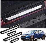 DENGD Plinthes Garnitures de seuil de Porte pour Honda HRV 2016 2017 2018 2019 2020, seuil de pédale d'usure, Accessoires de Garniture de Protection, Acier Inoxydable (4 pièces)