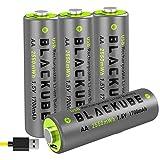 Blackube Micro USB Rechargeable Accu -USB Accu AA Micro Lithium Batterie -1.5V 1700 mAh - Umweltschutz wiederaufladbar ohne Memory-Effekt (4pcs)