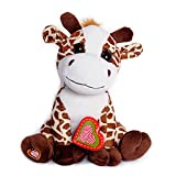 My Baby's Heartbeat Bear Recordable Stuffed Animals 20 sec Heart Voice Recorder for Ultrasounds and Sweet Messages Playback, Perfect Gender Reveal for Moms to Be, Lil Giraffe