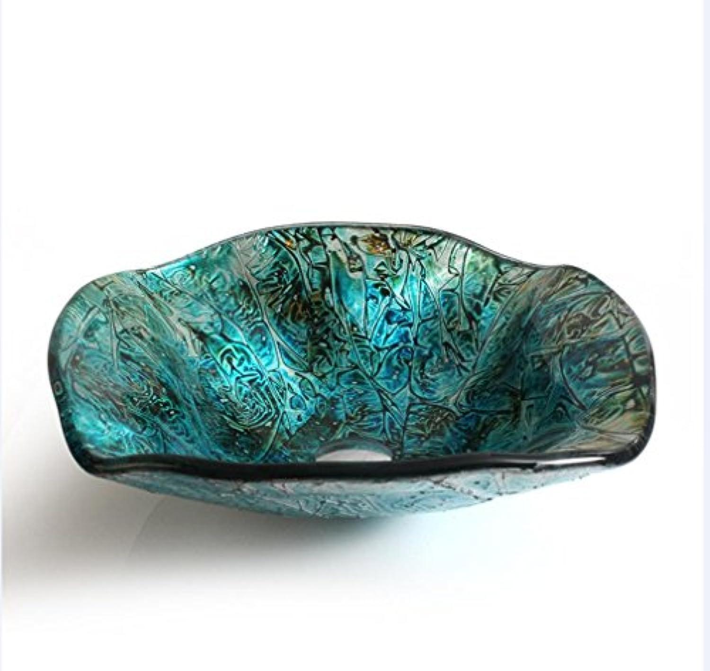 AllureFeng Kreative Glas 12L Badezimmer-Eitelkeit Bad blaue Wellpappe Kunst vorstehend Zhler Becken (12mm  H150mm  460mm) , single basin
