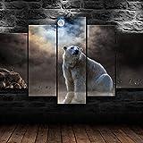 HHGJJ 5 Teiliges Bild Eisbär Arktis Tier Natur 5 Teilig