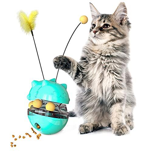Giocattoli per Gatti, Interattivo Palla Giocattolo per Gatti, Piuma Gatto Gioco, Gioco Gatto Interattivo Cibo, da Riempire con cibo o snack, giocattoli di attività per esercitare gatti e gattini