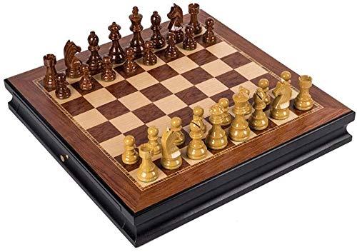 Ajedrez para niños Conjunto de ajedrez Conjunto de ajedrez de madera con cajones de doble ajedrez Piezas de ajedrez de madera maciza Tablero de ajedrez de alto grado Juego de ajedrez profesional juego