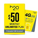 H2O Wireless $50 Plan SIM Starter Kit | Unlimited LTE Data + International Talk & Text, Yellow