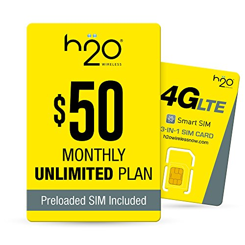 H2O Wireless $50 Plan SIM Starter Kit | Unlimited LTE Data + International Talk & Text, Yellow