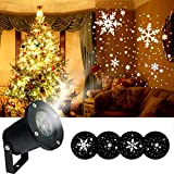 Remibel Rotating Snowflake Projector Light for Christmas, Waterproof Moving Snow Falling Projection Lamp for Indoor & Outdoor, Light for Landscape Patio Garden