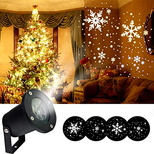 Rotating Snowflake Projector Light for Christmas, Waterproof Moving Snow Falling Projection Lamp for Indoor & Outdoor, Light for Landscape Patio Garden