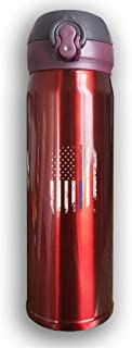 Bestqe Termo,Botella de agua,Tazas térmicas, And FireFighter Thin Blue Red Line Flag Stainless Steel Mug 17 OZ Double Walled Vacuum Insulated Water Bottles