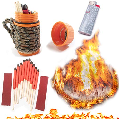 Fire Starter Kit Match Case with UCO Stormproof Matches, Bic Lighter, Fire Tinder, Char Cloth and Survival Guide Bonus!!. Great Fire Kit For:Camping, Hiking, BugOut Bags (Orange)