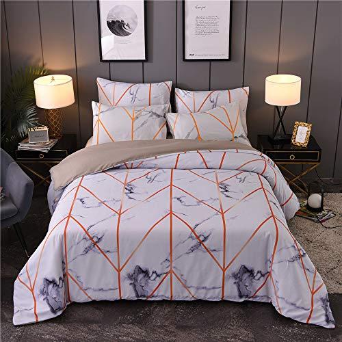 Nicole - Juego de ropa de cama de microfibra, diseño de mármol y funda de almohada con cremallera, D, 220x240cm+50x70cm*2