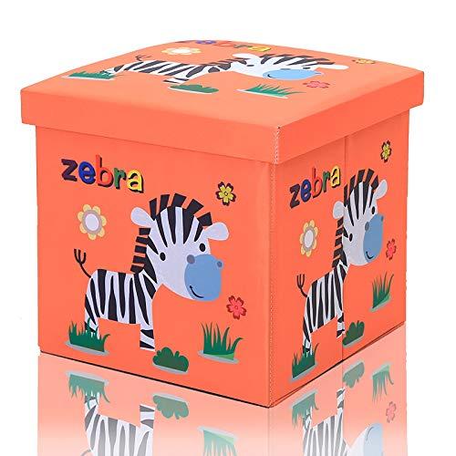 Pouf contenitore pieghevole, contenitore giochi bambini 30 x 30 x 30 cm I Scatola con coperchio per la camera dei bambini I porta giochi bambini contenitori (zebra)