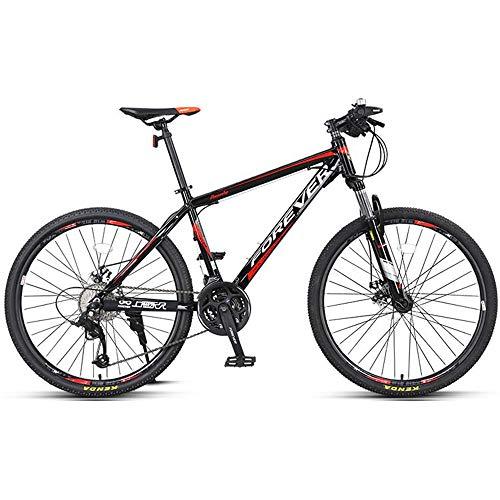 DelongKe 27.5 Zoll Mountainbike, Scheibenbremsen MTB, Trekkingrad Herren Bike Mädchen-Fahrrad, Vollfederung Mountain Bike, 27 Speed,Rot