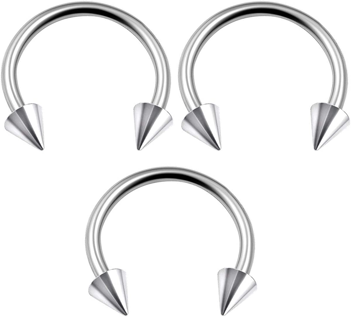 BanaVega 3PCS Surgical Steel Circular Barbell 16g 3mm Spike Cartilage Tragus Eyebrow Lip Earrings Septum Piercing Jewelry Choose Sizes