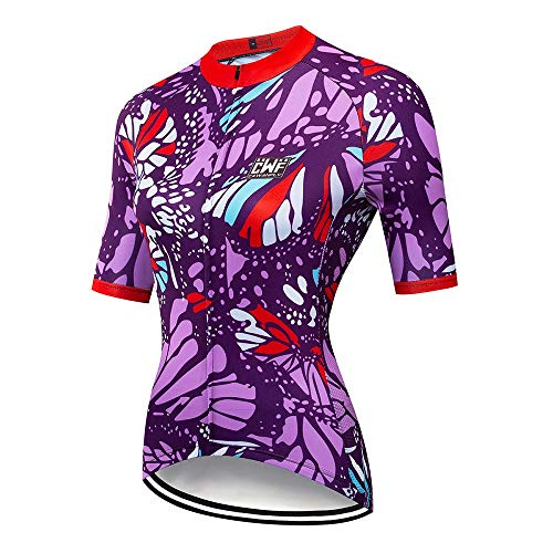 LOYFUN Radtrikot Anzüge, Kurzarmtrikot Damen-Fahrradbekleidung Mountainbike-Bekleidung Fahrradservice Schnelltrocknende Kleidung (Color : A1, Size : XXL)