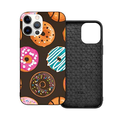 Estuche Compatible con iPhone 12 Estuche de 6.1 Pulgadas Patrón Bright Sweet Donuts Estuche para iPhone 12 Protector Parachoques Flexible de TPU a Prueba de Golpes y Parte Trasera rígida Transparent