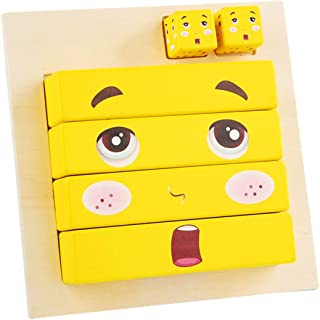 yeesport Expression Building Puzzle Cubes Wooden Funny Preschool Face Matching Puzzle Brain Training Toy Building Cubes Toy