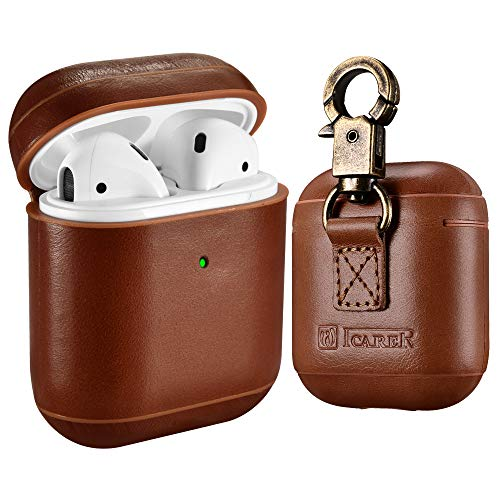 AirPods Leather Case, ICARER Genuine Leather AirPod case with Keychain and Led Light for Apple...