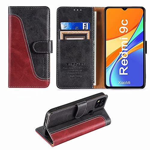 FMPCUON Funda para Xiaomi Redmi 9C con Tapa,Funda Cartera Magnético Carcasa Redmi 9C,Libro Caso Móvil para Redmi 9C Funda Cartera,Rojo/Negro