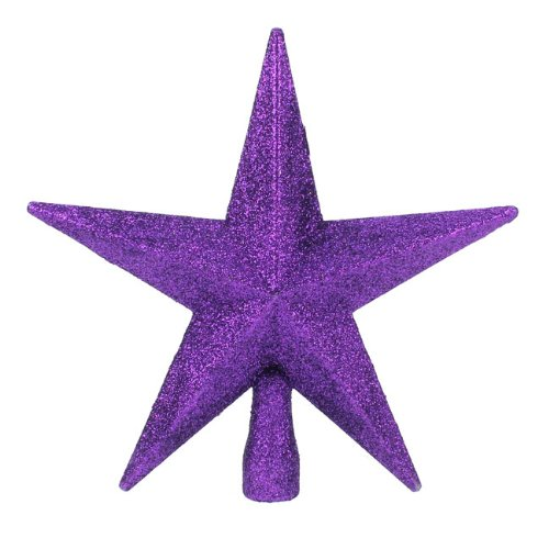 Purple Glitter Star Christmas Tree Topper (20cm) by Christmas Direct