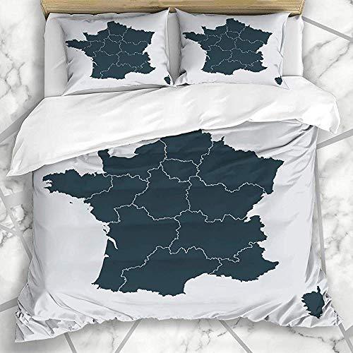 3-Piece Bedspread Set Ciudad Córcega Área De París Mapa Detallado De Francia Región Ai Contorno Norte En Color Gris Nación Abstracta Dormitorio Decorativo Suave Con Funda De Almohada Juegos De F