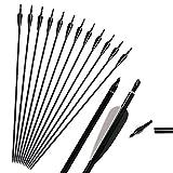 """Huntingdoor 31""""Frecce di Mira in Alluminio tiro con L'Arco Frecce di Caccia con cocca Regolabile e Punti di Campo sostituibili per Arco Composto o Arco ricurvo (12 Pezzi) (Nero)"""
