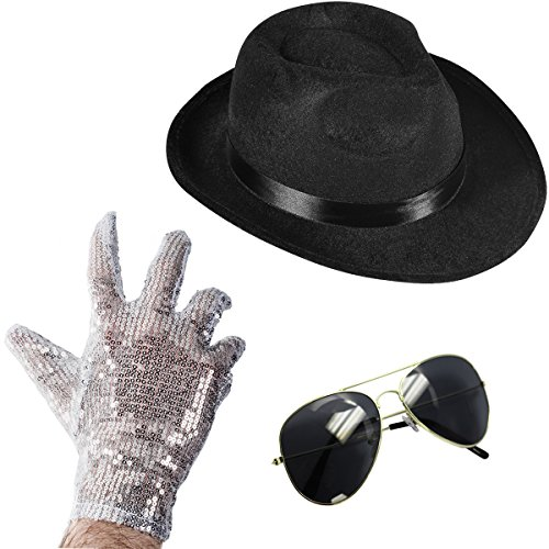 Funny Party Hats Set of 3 - Fedora Hat Sequin Glove and Sunglasses (Fedora Hat Sequin Glove and Black Sunglasses)