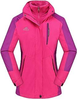 QitunC 3 in 1 Outdoor Jacket Womens Mens Hooded Windbreaker Waterproof Windproof Climbing Skiing Coat