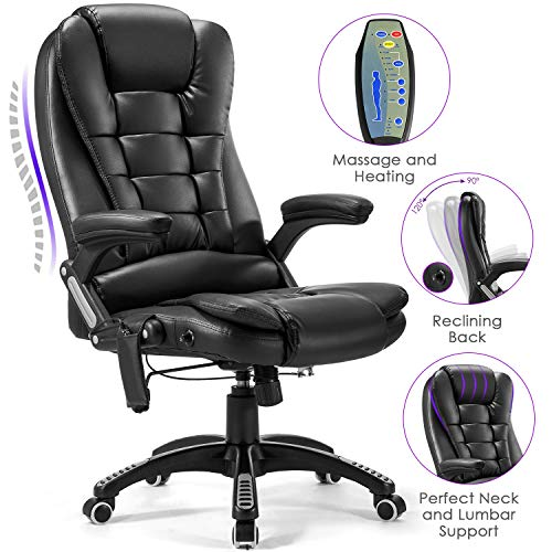 Massage Office Chair, Kealive PU Leather High Back Executive Chair, Adjustable Tilt Angle Reclining Swivel Chair with Padding   and Ergonomic Design for Lumbar Support, Black