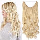 Haarteil Extensions 1 Tresse günstig Haarverlängerung Synthetische mit Draht Haarextensions für Haarverdichtung Gewellt Hair 20'(50cm)-90g Hell-Lichtblond