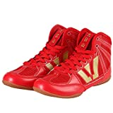 Wrestling Shoes Martial Arts Shoes Beef Tendon Bottom Leather Toe Sanda Training Fitness Fighting Wrestling Boxing Training Shoes,Red,38/23.5cm