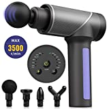 Massage Gun, Ruisi Handheld Electric Deep Tissue Muscle Massager for Pain Relief, Deep Relaxation Super Quiet Brushless Motor Body Massage Device incl. 4 Ergonomic Heads & 6 Speed (Gray)