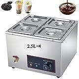 Calentador de Buffet de 4 × 2.5L de Acero Inoxidable, Calentadores de Comida Chafing Dish con Grifo de Drenaje para Bufé, Reunión Familiar y Banquetes, Derretidor Eléctrico de Chocolate