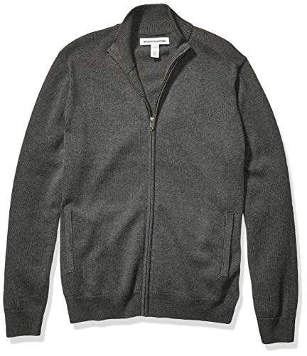 Amazon Essentials Men's Cotton Full-Zip Sweater, Charcoal Heather, Large